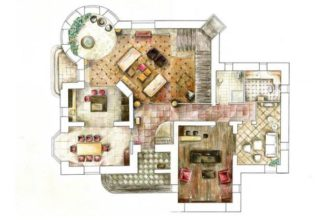 Удачным вариантом будет квадратная форма комнаты